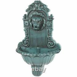 Lion Head Water Feature Bird Bath Water Fountain Antique Green Wall Mounted