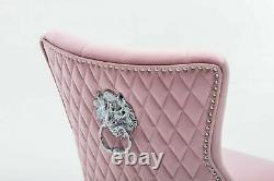 Luxury Velvet Pink Tufted Back Lion Head Knocker Back Chair Chrome Legs
