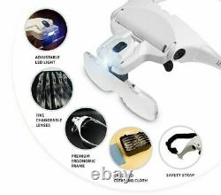 Magnifying Glass Headset 2 LED Light Head Headband Magnifier 5 Lens With Box UK