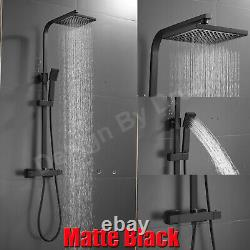 Matte Black Shower Bathroom Thermostatic Mixer Square Twin Head Exposed Valve