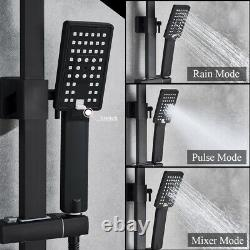Matte Black Shower Set Bathroom Mixer Tap 8 Square Head Top Spray WithShower Hand
