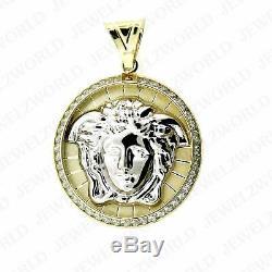 Men's 10K Yellow Gold Medusa Head Pendant Versace Symbol CZ Charm 1.25 Inch