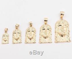 Men's Diamond Cut Jesus Head Charm Pendant Real Solid 10K Yellow Gold ALL SIZES