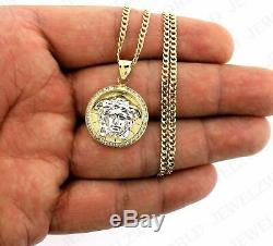 Men's Real 10K Gold Medusa Head Charm Pendant & 2.5mm Cuban Link Chain Necklace
