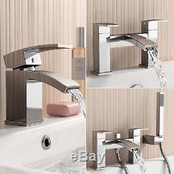 Modern Bathroom Tap Set Square Water Basin Mixer Bath Filler Shower Cloakroom
