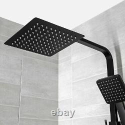Modern Thermostatic Mixer Shower Set Square Black Finish Twin Head Exposed Valve