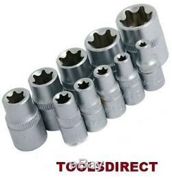 Neilsen Female Torx Sockets Set TX/Star 3/8 & 1/4 Drive E Type Car Head