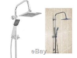 New Dual Bath Shower Bathroom Square Head Mixer Tap Bar Hose Set Riser Rail Bar
