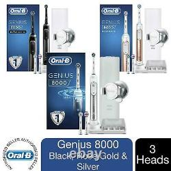 Oral-B Genius 8000 Electric Toothbrush with 3 Heads, Travel Case & 2 Pin UK Plug