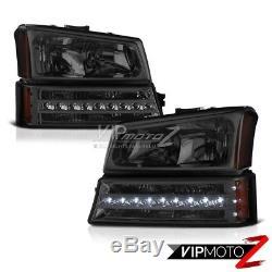 PLUG&PLAY 2003-2006 Chevy Silverado 1500 2500 3500 HD Smoke Bumper Head Lights