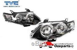 Pair LH+RH Head Light Angel Eyes (Black) For Ford Falcon FG s1 XR6 XR8 0811