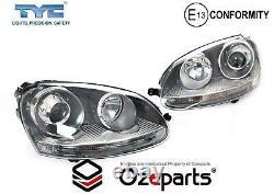 Pair LH+RH Head Light Black Xenon HID Projector For VW Volkswagen Golf R32 0508
