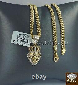 REAL 10k Gold & Diamond Lion Head Charm Miami Cuban Chain 24 Inch Men's Women