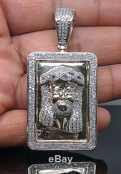 Real 10K Men's Yellow Gold Jesus Head Charm With 1.30CT Diamond, Angel, Cross