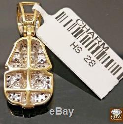 Real 10k Yellow Gold & Genuine Diamond Pharaoh Head Charm Pendant, Men/Women, N