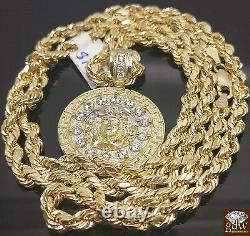 Real 10k Yellow Gold Medusa Head Charm Pendent With 10K Rope Chain 22 inch