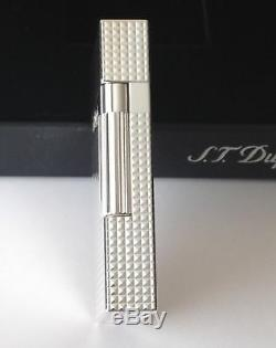 S. T. Dupont Ligne 2, Silver Plated Diamond Head Lighter, ST 016184 New In Box