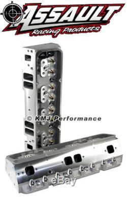 SBC Chevy 205cc Bare Aluminum Cylinder Heads 64cc Straight Plug Small Block 350