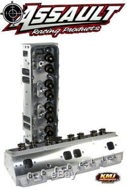 SBC Chevy 350 Aluminum Cylinder Heads Complete 200cc Angle Plug With 7/16 Studs