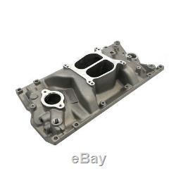 SBC Chevy Dual Plane Satin Aluminum Intake Manifold for Vortec 350 Heads