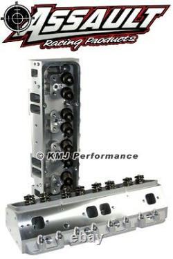 SBC Complete Aluminum Cylinder Heads Angle Plug 205cc. 550 Springs 3/8 Studs
