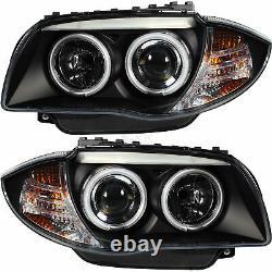 SCHEINWERFER SATZ CCFL ANGEL EYES für BMW E81 E82 E87 E88 2004-2011 SCHWARZ H63