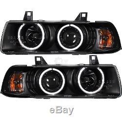 Scheinwerfer Set für BMW E36 Coupe Cabrio CCFL Angel Eyes H1 H3 klar schwarz
