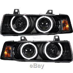 Scheinwerfer Set für BMW E36 Limo Touring CCFL Angel Eyes H1 H3 klar schwarz