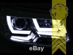 Scheinwerfer echtes LED Tagfahrlicht für VW T5 Bus Facelift schwarz