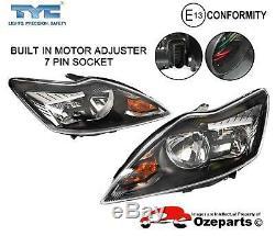 Set / Pair LH+RH Head Light Halogen Black For Ford Focus LV 20092011 Zetec