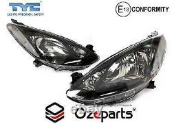 Set / Pair LH+RH Head Light Lamp Black For Mazda 2 DE Neo Maxx Genki 20072014