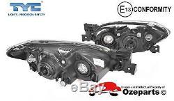 Set Pair LH+RH Head Light Lamp Black For Mazda 3 BK 4 Door Sedan SP23 0309