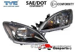 Set / Pair LH+RH Head Light Lamp Black For Mitsubishi Lancer CH VRX 20032008