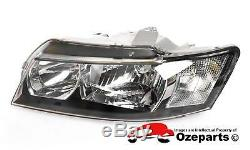 Set Pair LH+RH Head Light Lamp Halogen Black For Holden Commodore VZ SV6 0407