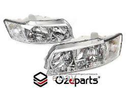 Set Pair LH+RH Head Light Lamp Halogen Chrome For Holden Commodore VZ 20042007