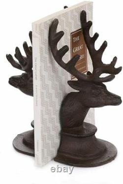 Set of 2 Cast Iron Stag Head Deer Antler Book Ends Heavy Vintage Style Bookends