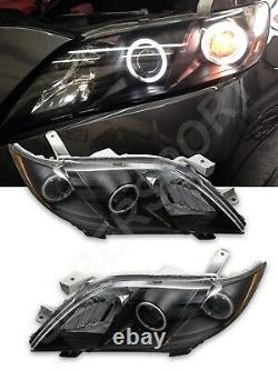 Set of Pair Black LED Halo Headlights for 2007-2009 Toyota Camry CE LE SE XLE