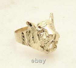 Size 10 Men's Diamond Cut Tiger Head Ring Real Solid 10K Yellow Gold