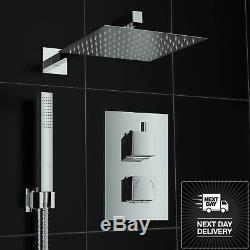 Square Chrome Finish Concealed Thermostatic Twin Diverter Head Mixer Shower Set