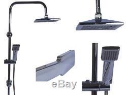 Square Dual Head Shower Bathroom Mixer Tap Shower Bar Hose Set Riser Rail Bar