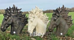 Stallion Head Bust Sculpture Horse Statue Garden Outdoor Ornament Bronze Black