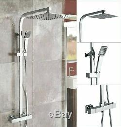 Thermostatic Exposed Shower Mixer Bathroom Twin Head 300mm Square Bar Set Chrome