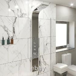 Thermostatic Shower Panel Column Tower 4 Body Jets Twin Head Bathroom Shower