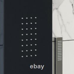 Thermostatic Shower Panel Column Tower Body Jets Twin Head Bathroom Shower Black