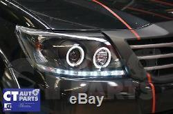 Toyota Hilux VIGO Black DRL LED Angel-Eyes Projector Head Lights 11-14