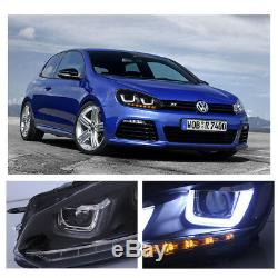UK DRL LED Headlight For VW Golf 6R MK6 TDI TSI 08-13 Sequential Head Lights Set