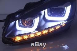 UK For VW Golf 6 MK6 LED DRL Headlight GTI/GTD 08-13 Sequential Head Lights RHD
