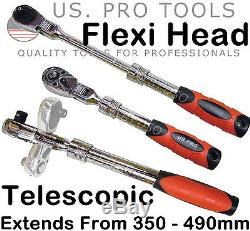 US. PRO TOOLS 1/2 Dr 72T Tooth Flexi Head Flexible Extendable Ratchet Handle