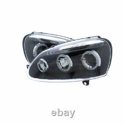 VW Golf Mk5 2003-2009 Black Angel Eye Halo Head Light Lamp Pair Left & Right