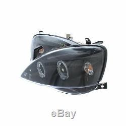 Vauxhall Corsa C Mk2 2000-2006 Black Angel Eye Head Light Lamp Pair Left & Right